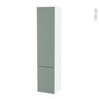 Colonne de salle de bains - 2 portes - HELIA Vert - Côtés blancs - Version B - L40 x H182 x P40 cm