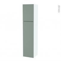 Colonne de salle de bains - 2 portes - HELIA Vert - Côtés blancs - Version A - L40 x H182 x P40 cm