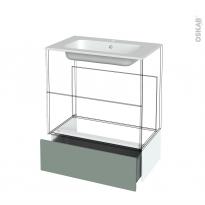 Tiroir sous meuble - Socle n°101 - HELIA Vert - pour meuble salle de bains - L80 x H26 x P45 cm