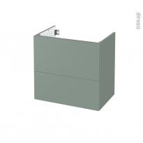 Meuble de salle de bains - Sous vasque - HELIA Vert - 2 tiroirs - Côtés décors - L60 x H57 x P40 cm