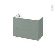 Meuble de salle de bains - Sous vasque - HELIA Vert - 2 tiroirs - Côtés décors - L80 x H57 x P40 cm