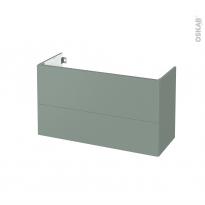 Meuble de salle de bains - Sous vasque - HELIA Vert - 2 tiroirs - Côtés décors - L100 x H57 x P40 cm