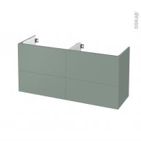 Meuble de salle de bains - Sous vasque double - HELIA Vert - 4 tiroirs - Côtés décors - L120 x H57 x P40 cm