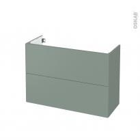 Meuble de salle de bains - Sous vasque - HELIA Vert - 2 tiroirs - Côtés décors - L100 x H70 x P40 cm