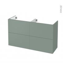 Meuble de salle de bains - Sous vasque double - HELIA Vert - 4 tiroirs - Côtés décors - L120 x H70 x P40 cm