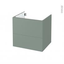 Meuble de salle de bains - Sous vasque - HELIA Vert - 2 tiroirs - Côtés décors - L60 x H57 x P50 cm