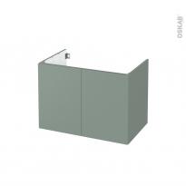 Meuble de salle de bains - Sous vasque - HELIA Vert - 2 portes - Côtés décors - L80 x H57 x P50 cm