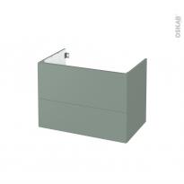 Meuble de salle de bains - Sous vasque - HELIA Vert - 2 tiroirs - Côtés décors - L80 x H57 x P50 cm