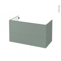 Meuble de salle de bains - Sous vasque - HELIA Vert - 2 tiroirs - Côtés décors - L100 x H57 x P50 cm