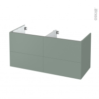 Meuble de salle de bains - Sous vasque double - HELIA Vert - 4 tiroirs - Côtés décors - L120 x H57 x P50 cm