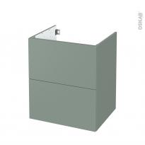 Meuble de salle de bains - Sous vasque - HELIA Vert - 2 tiroirs - Côtés décors - L60 x H70 x P50 cm