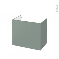 Meuble de salle de bains - Sous vasque - HELIA Vert - 2 portes - Côtés décors - L80 x H70 x P50 cm