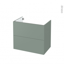 Meuble de salle de bains - Sous vasque - HELIA Vert - 2 tiroirs - Côtés décors - L80 x H70 x P50 cm