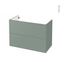 Meuble de salle de bains - Sous vasque - HELIA Vert - 2 tiroirs - Côtés décors - L100 x H70 x P50 cm