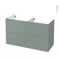Meuble de salle de bains - Sous vasque double - HELIA Vert - 4 tiroirs - Côtés décors - L120 x H70 x P50 cm
