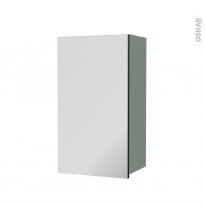 Armoire de salle de bains - Rangement haut - HELIA Vert - 1 porte miroir - Côtés décors - L40 x H70 x P27 cm