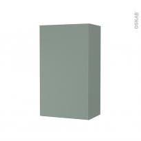 Armoire de salle de bains - Rangement haut - HELIA Vert - 1 porte - Côtés décors - L40 x H70 x P27 cm