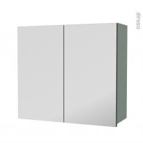 Armoire de salle de bains - Rangement haut - HELIA Vert - 2 portes miroir - Côtés décors - L80 x H70 x P27 cm