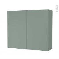Armoire de salle de bains - Rangement haut - HELIA Vert - 2 portes - Côtés décors - L80 x H70 x P27 cm