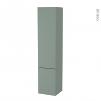 Colonne de salle de bains - 2 portes - HELIA Vert - Côtés décors - Version B - L40 x H182 x P40 cm