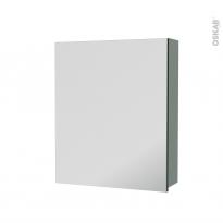 Armoire de toilette - Rangement haut - HELIA Vert - 1 porte miroir - Côtés décors - L60 x H70 x P17 cm