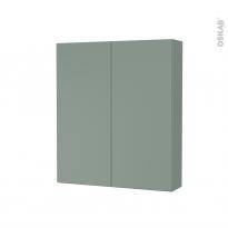 Armoire de toilette - Rangement haut - HELIA Vert - 2 portes - Côtés décors - L60 x H70 x P17 cm