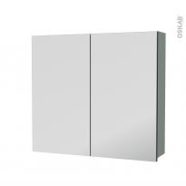 Armoire de toilette - Rangement haut - HELIA Vert - 2 portes miroir - Côtés décors - L80 x H70 x P17 cm