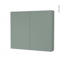 Armoire de toilette - Rangement haut - HELIA Vert - 2 portes - Côtés décors - L80 x H70 x P17 cm
