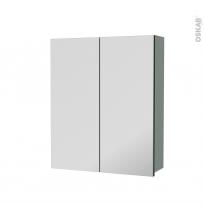 Armoire de toilette - Rangement haut - HELIA Vert - 2 portes miroir - Côtés décors - L60 x H70 x P17 cm