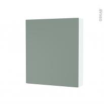 Armoire de toilette - Rangement haut - HELIA Vert - 1 porte - Côtés blancs - L60 x H70 x P17 cm