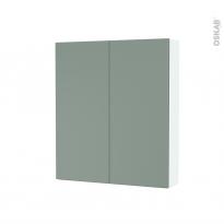 Armoire de toilette - Rangement haut - HELIA Vert - 2 portes - Côtés blancs - L60 x H70 x P17 cm