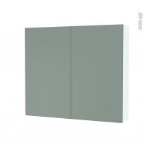 Armoire de toilette - Rangement haut - HELIA Vert - 2 portes - Côtés blancs - L80 x H70 x P17 cm