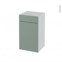 Meuble de salle de bains - Rangement bas - HELIA Vert - 1 porte 1 tiroir - L40 x H70 x P37 cm