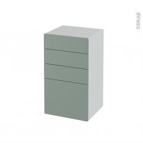 Meuble de salle de bains - Rangement bas - HELIA Vert - 4 tiroirs - L40 x H70 x P37 cm