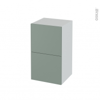 Meuble de salle de bains - Rangement bas - HELIA Vert - 2 tiroirs 1 tiroir à l'anglaise - L40 x H70 x P37 cm