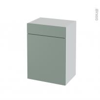 Meuble de salle de bains - Rangement bas - HELIA Vert - 1 porte 1 tiroir - L50 x H70 x P37 cm
