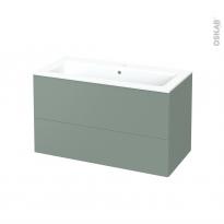 Meuble de salle de bains - Plan vasque NAJA - HELIA Vert - 2 tiroirs - Côtés décors - L100,5 x H58,5 x P50,5 cm