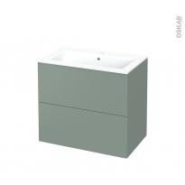 Meuble de salle de bains - Plan vasque NAJA - HELIA Vert - 2 tiroirs - Côtés décors - L80.5 x H71.5 x P50.5 cm