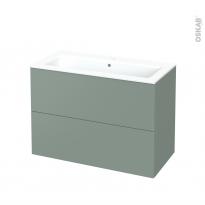 Meuble de salle de bains - Plan vasque NAJA - HELIA Vert - 2 tiroirs - Côtés décors - L100,5 x H71,5 x P50,5 cm