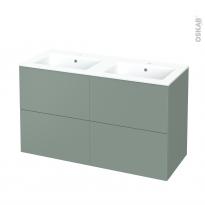 Meuble de salle de bains - Plan double vasque NAJA - HELIA Vert - 4 tiroirs - Côtés décors - L120,5 x H71,5 x P50,5 cm
