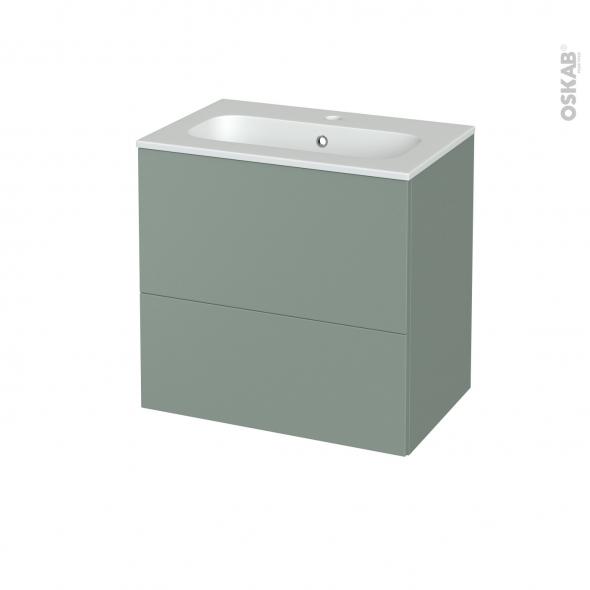 Meuble de salle de bains - Plan vasque REZO - HELIA Vert - 2 tiroirs - Côtés décors - L60,5 x H58,5 x P40,5 cm