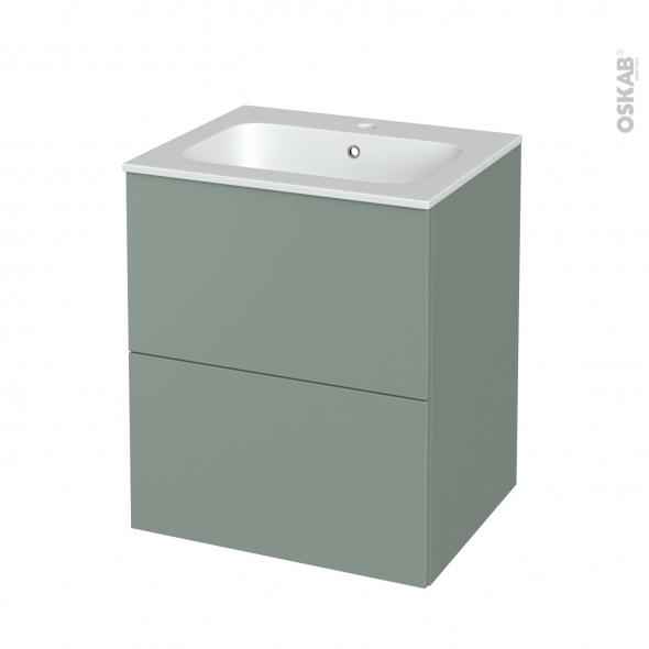 Meuble de salle de bains - Plan vasque REZO - HELIA Vert - 2 tiroirs - Côtés décors - L60,5 x H71,5 x P50,5 cm
