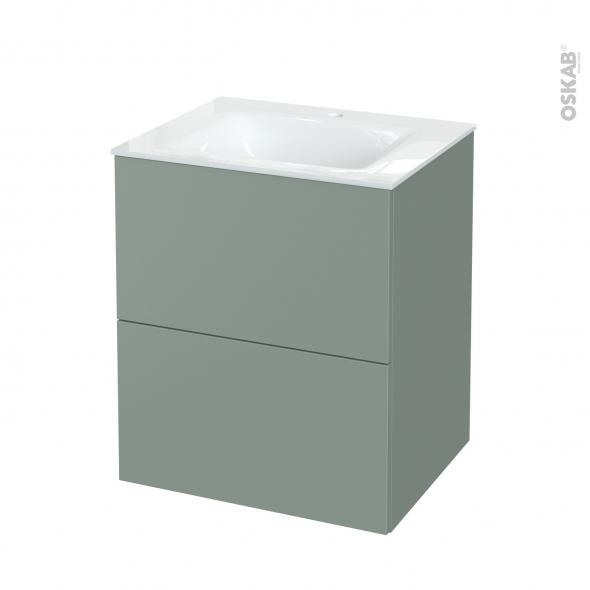 Meuble de salle de bains - Plan vasque VALA - HELIA Vert - 2 tiroirs - Côtés décors - L60,5 x H71,2 x P50,5 cm