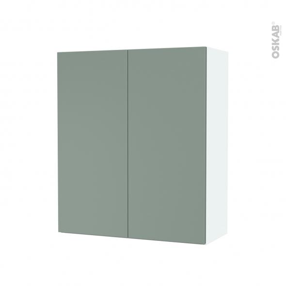 Armoire de salle de bains - Rangement haut - HELIA Vert - 2 portes - Côtés blancs - L60 x H70 x P27 cm