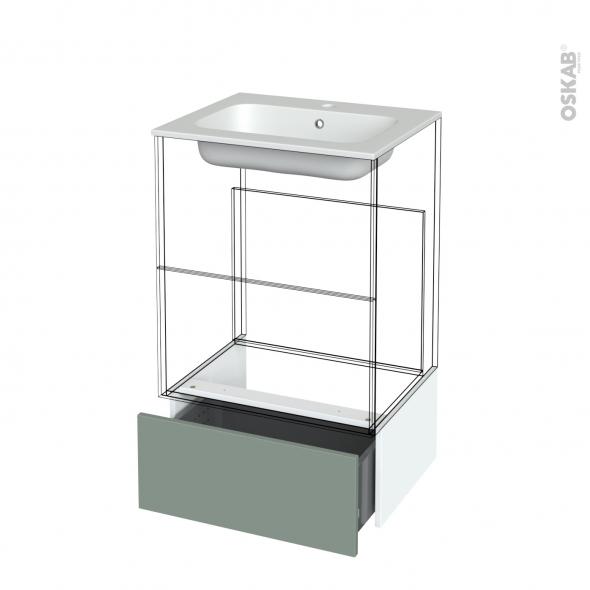 Tiroir sous meuble - Socle n°51 - HELIA Vert - pour meuble salle de bains - L60 x H26 x P45 cm