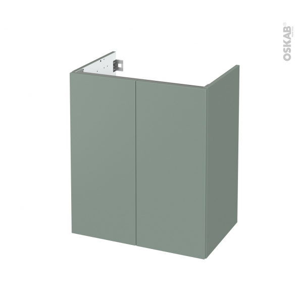 Meuble de salle de bains - Sous vasque - HELIA Vert - 2 portes - Côtés décors - L60 x H70 x P40 cm