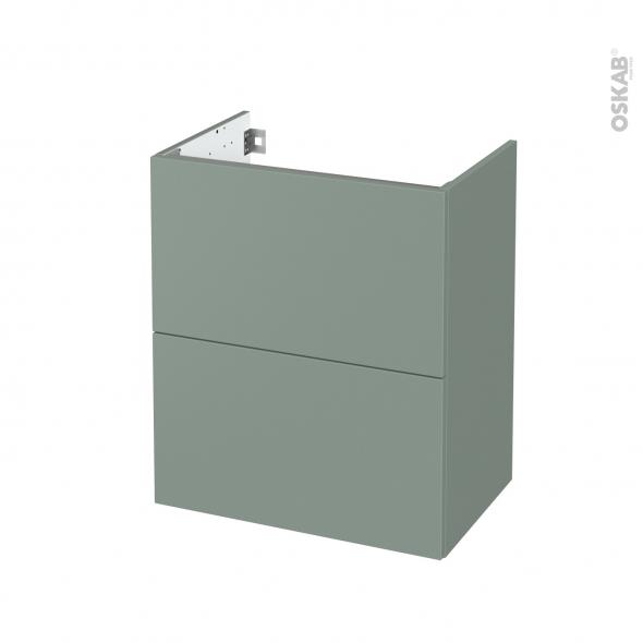 Meuble de salle de bains - Sous vasque - HELIA Vert - 2 tiroirs - Côtés décors - L60 x H70 x P40 cm