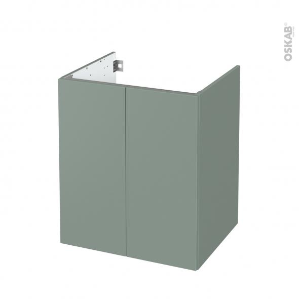Meuble de salle de bains - Sous vasque - HELIA Vert - 2 portes - Côtés décors - L60 x H70 x P50 cm
