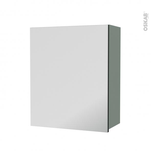 Armoire de salle de bains - Rangement haut - HELIA Vert - 1 porte miroir - Côtés décors - L60 x H70 x P27 cm
