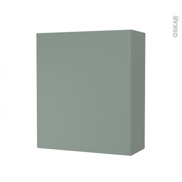 Armoire de salle de bains - Rangement haut - HELIA Vert - 1 porte - Côtés décors - L60 x H70 x P27 cm